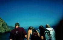 Seniors Adam O'Regan, Callie Glenn, Kira Barsten and Mackenzie Jackson make observations about the ocean.
