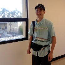 Senior Benjamin Searle showscases the classic fanny-pack look