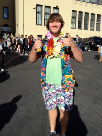 Two thumbs up from junior Griffin Hennesy