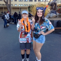 Juniors Giulianna Pendelton and Jennie Thomas living it up as tourists at the beach