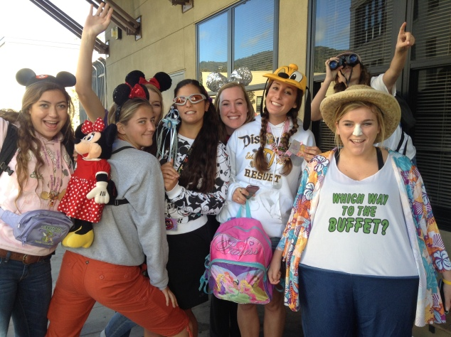 Senior tourists back from their trip to Disneyland