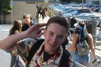 Junior Connor Pfaff poses in the ever-popular Hawaiian shirt
