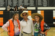 Seniors Emma Cohan and Rachel Donnelly take a break from their busy Spirit Week schedules to pose with Mr. Autrey