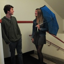 """Isn't it bad luck to have an umbrella open inside?"" ""I don't believe in bad luck."""