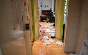 Inside the Charlie Hebdo offices following the attack.