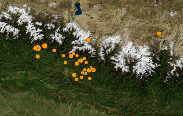 Map of Nepal, with initial and aftershocks labeled in orange. Provided by USGS.