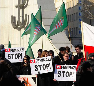 An anti-feminist rally