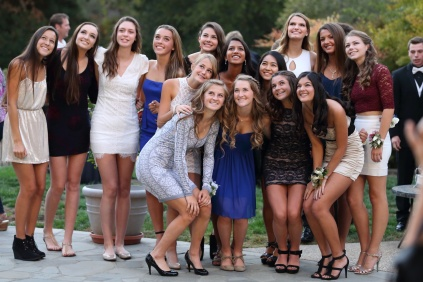 Class of 2018 girls pose together.
