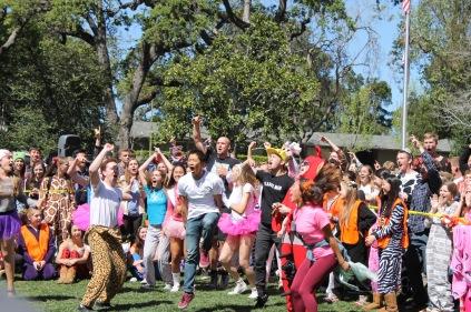 Seniors celebrate their dance battle victory.