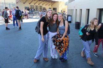 Freshmen show off their fuzzy PJ pants.
