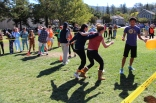 Sophomores putting their ankles together for the relay race.