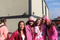 Seniors cover themselves in pink in support of this spirit day.