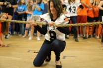 Principal Grasty sets up and releases the rope for the championship game.