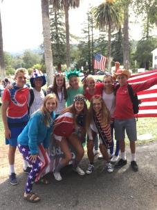 Sophomores pose in their patriotic attire.
