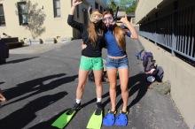 Juniors Katie Nedom and Emily Plane show off their west coast spirit.