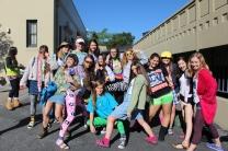 Junior girls show off their class wide spirit.