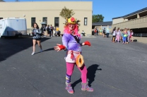 Sophomore girl rocks her wacky outfit.