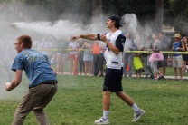 Seniors make a winning shot in the California Snowball fight.