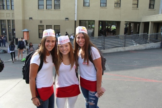 Freshmen show off their In n' Out gear.