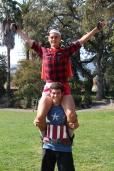 Cross country boys show off their spirit.