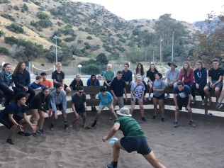 I GOT IT: Senior Alex Escudero leads game of GaGa ball with the rest of the Catalina crew.