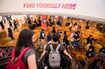 """BBYO members enter convention to see the movement's slogan """"Find Yourself Here."""""""