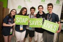 Participants organize soap to save lives.