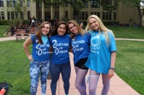 Sophomore girls pose in their blue apparel.