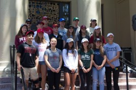 All of the Class of 2018 athletes pose for a picture.