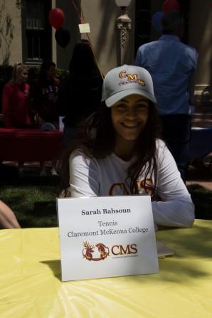 Sarah Bahsoun will be attending Claremont McKenna College to play tennis.